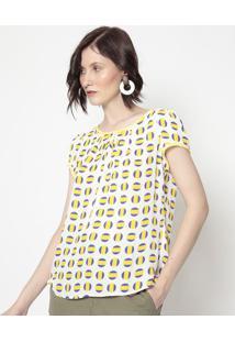Blusa Poã¡- Amarela & Azul Escuro- Milioremiliore