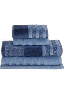 Jogo De Toalhas Elegant- Azul & Azul Escuro- 5Pã§S