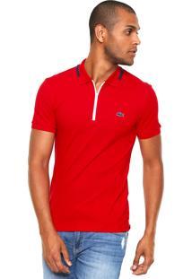 Camisa Polo Lacoste Zíper Vermelha