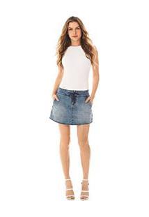 902bf9a5e9 Morena Rosa. Saia Curta Five Pockets Barra Arredondada Jeans