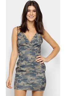Vestido My Favorite Thing Tubinho Curto Estampado Alças - Feminino-Verde Militar