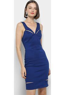 139e4d9a5a Vestido Forum Tubinho Curto Jeans Recortes - Feminino-Azul