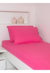 Lençol Ivvi Tex Solteiro Rosa Pink - 88X188X30 - Pink