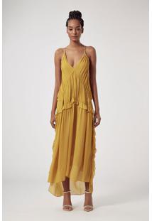 Vestido Longo Com Decote V Alça Cruzada Amarelo Branco Perola