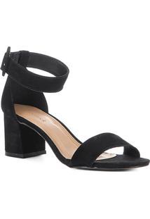 Sandália Shoestock Naked Nobuck Fivela Feminina - Feminino-Preto