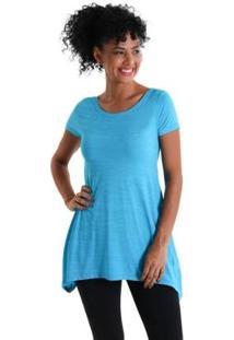 Camiseta Líquido Evasê Levíssima Feminina - Feminino-Azul Turquesa