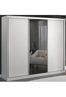 Guarda-Roupa Casal 3 Portas De Correr 1 Espelho 100% Mdf 8805E1 Branco - Foscarini