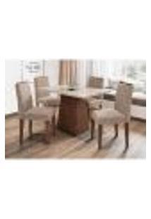 Conjunto De Mesa De Jantar Com Tampo De Vidro Jasmin E 4 Cadeiras Ana I Animalle Off White E Cinza