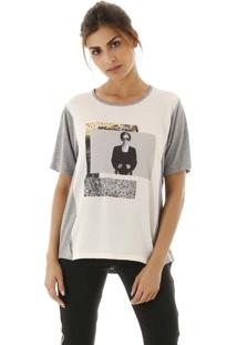 Camiseta Malha Com Frente Em Crepe E Silk Localizado