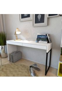 Mesa Para Escritório 2 Gavetas Desk Siena Móveis Branco/Preto