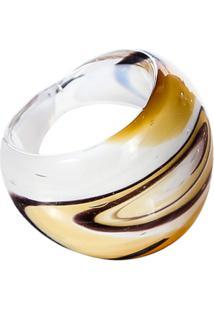 Anel De Vidro Colorido - Feminino-Branco+Amarelo