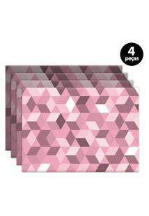 Jogo Americano Mdecore Geométrico 40X28Cm Rosa 4Pçs