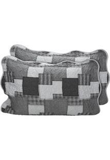 Kit De 01 Colcha Queen Com 02 Porta Travesseiro Santista Cinza