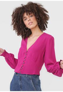 Blusa Maria Filã³ Botãµes Rosa - Rosa - Feminino - Viscose - Dafiti