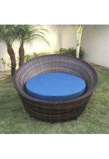 Chaise Caribe Sem Encosto - Tecido Linium Azul