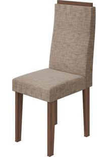 Cadeira Dafne Velvet Riscado Bege Imbuia Naturale