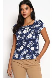 Blusa Floral-Azul Marinho & Brancavip Reserva