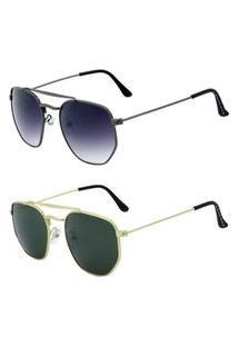 Promoção Kit 2 Óculos De Sol Femininos Prorider Redondo Dourado E Grafite - Titan-Kit-2