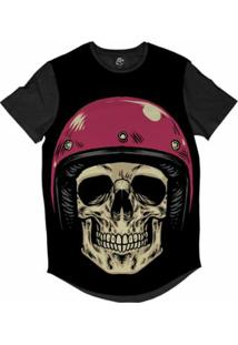 Camiseta Bsc Longline Caveira Capacete Motoqueiro 63 Sublimada Masculina - Masculino-Preto