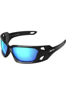 Óculos De Sol Espelhado Spy Hammer 67 Preto Brilhante Lente Azul