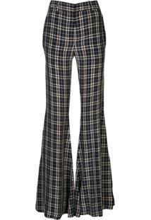 Khaite Silk Check Flared Tailored Trousers - Azul