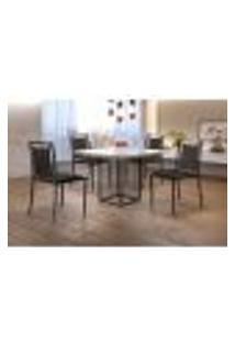 Conjunto De Mesa De Jantar Hera Com Tampo De Vidro Siena E 4 Cadeiras Grécia I Couríssimo Preto