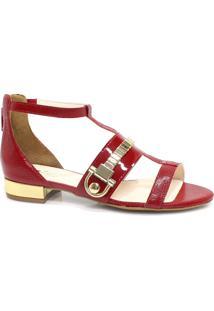Sandália Zariff Shoes Rasteira Vermelho