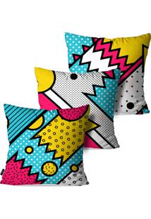 Kit Com 3 Capas Para Almofadas Pump Up Decorativas Estilo Pop Art 45X45Cm - Branco - Dafiti