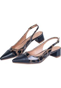 Scarpin Salto Grosso Love Shoes Social Bico Fino Baixo Captoe Onça