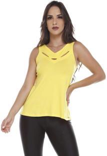 Blusa Cavada Com Abertura Na Frente Amarelo