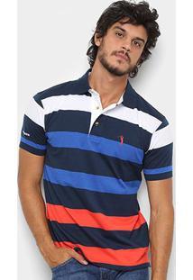 Camisa Polo Aleatory Fio Tinto Listrada Masculina - Masculino-Marinho+Branco