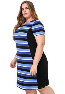 Vestido Lunender Mais Mulher Plus Curto Listrado Azul/Preto