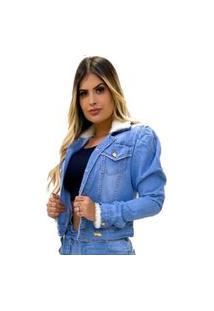 Jaqueta Jeans Feminina Pelinho Clara Ombro Princesa Azul