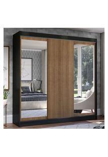 Guarda-Roupa Casal Madesa Istambul 3 Portas De Correr Com Espelhos 3 Gavetas - Preto/Rustic Preto