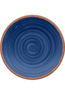 Prato Para Sobremesa Rústico- Azul Marinho & Marrom-Hudson
