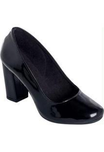Sapato Envelhecido Preto De Salto Quadrado