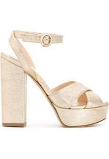 P.A.R.O.S.H. Sandália Cathy Com Estampa Metálica - Dourado