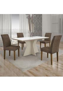 Conjunto De Mesa De Jantar Creta Com 4 Cadeiras Olímpia Linho Branco E Marrom