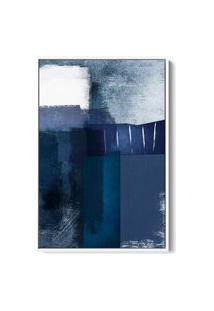 Quadro 60X40Cm Abstrato Textura Eskuila Moldura Flutuante Filete Branca