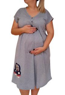Camisola Plus Size Linda Gestante Manga Curta Maternidade Mamã£E Urso - Cinza - Feminino - Dafiti