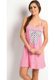 Camisola De Alças Rosa Com Estampa