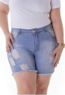 Shorts Jeans Plus Size - Confidencial Extra Com Elastano Plus Size