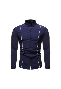 Camisa Masculina Com Listra - Navy