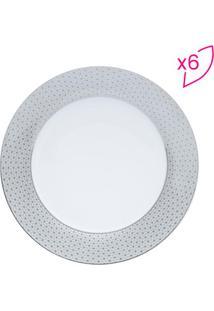Jogo De Prato De Jantar Florido- Branco & Cinza Claro