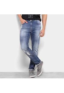 Calça Jeans Skinny Cavalera Mário Estonada Destroyed Masculina - Masculino