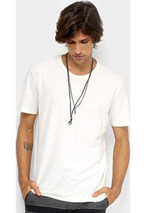 Camiseta Redley Básica Flamê Masculina - Masculino-Off White