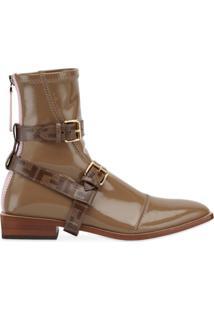 Fendi Ankle Boot De Couro Envernizado - Vermelho