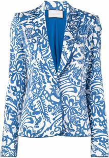 Alexis Blazer Tika Com Estampa Floral - Azul