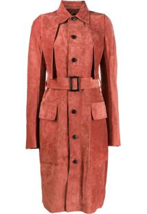 Rick Owens Belted Trench Coat - Vermelho