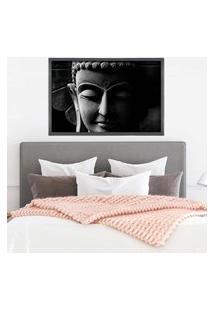 Quadro Com Moldura Buddha Em Cinza Grafitti Metalizado - Médio